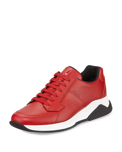 Leather Running Sneaker, Red