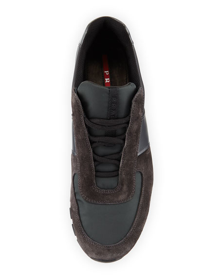 Suede Lace-Up Sneaker, Gray