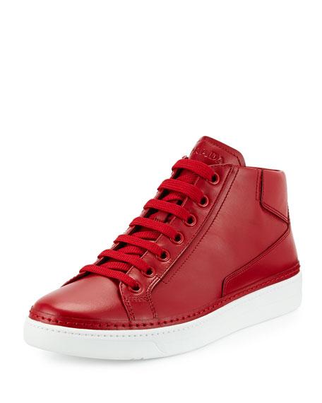 Prada Leather Mid-Top Sneaker, Red