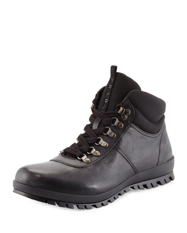 b82c9b5fa9cc Prada Lugged Leather Hiking Boot