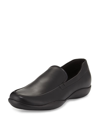 Leather Slip-On Loafer with Rubber Sole, Black