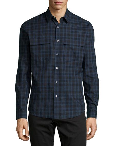 Theory Mikon Long-Sleeve Sport Shirt, Blue