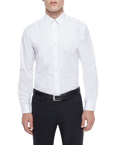 Sylvain Textured Long-Sleeve Shirt, White