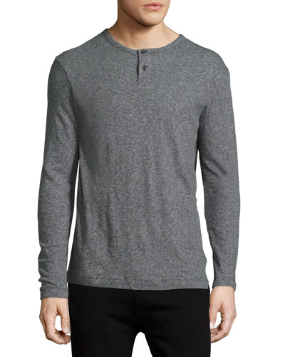 Gaskell Long-Sleeve Henley Shirt, Charcoal