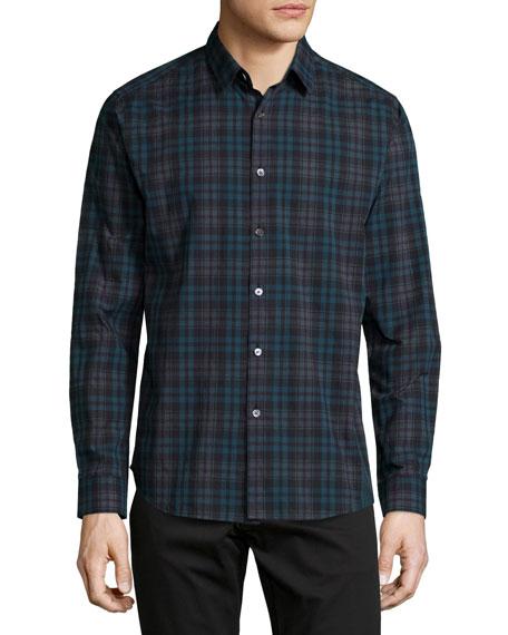 Theory Zack Plaid Long-Sleeve Shirt, Blue