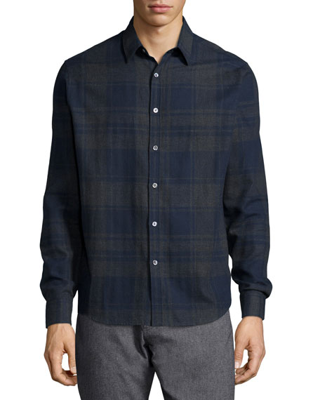 Theory Zack Large-Check Long-Sleeve Sport Shirt, Blue