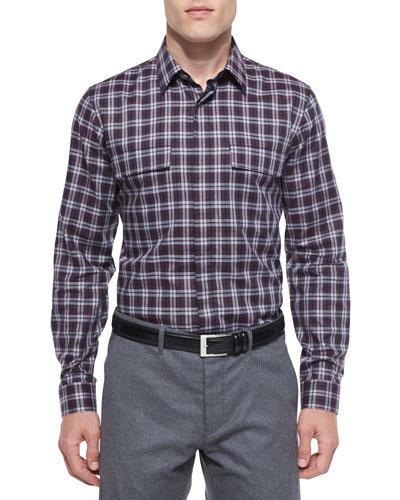 Daimon Multi-Check Sport Shirt, Purple