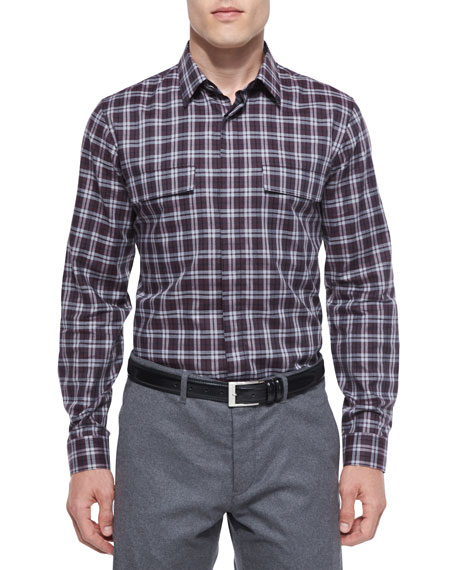 Theory Daimon Multi-Check Sport Shirt, Purple
