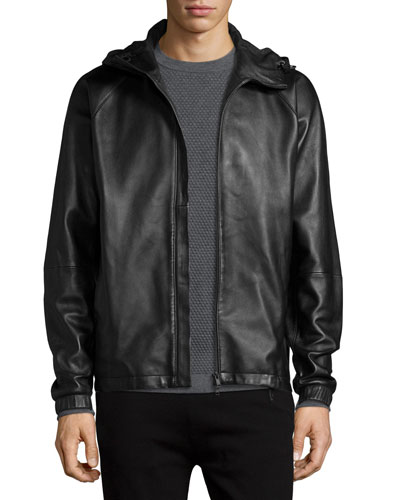 Byrn Hooded Leather Jacket, Black