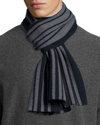 Striped Wool Scarf, Navy