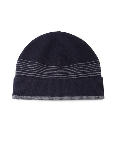 Striped Wool Beanie Hat, Navy