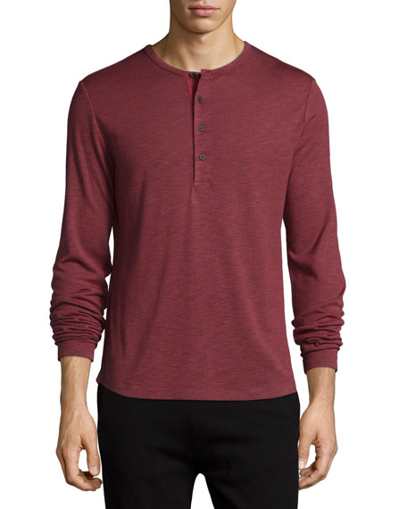 Theory Gesper Long-Sleeve Henley Shirt, Red