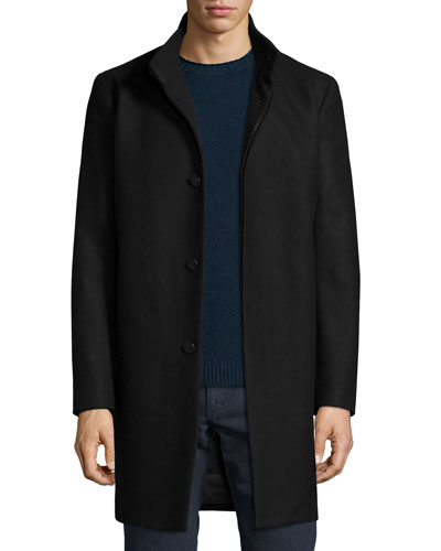Belvin Wool-Blend Car Coat, Black