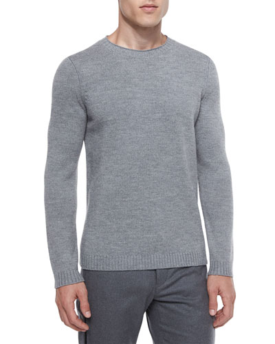 Vernon Crewneck Wool Sweater, Gray
