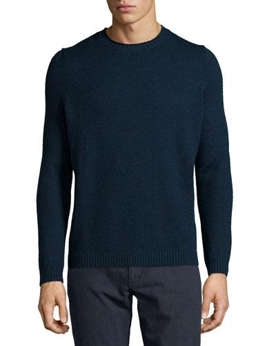 Vernon Crewneck Wool Sweater, Navy