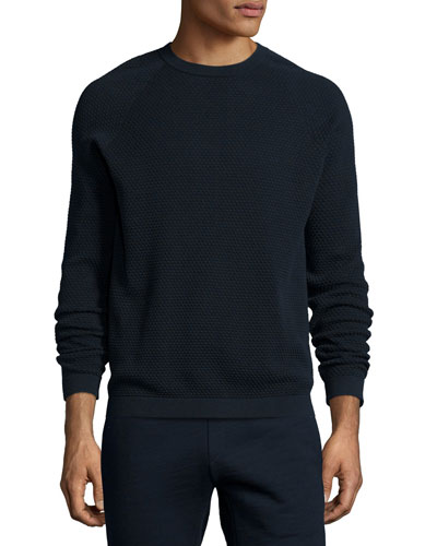 Ednae Textured Crewneck Sweatshirt, Navy