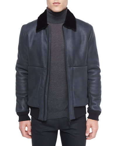 Shearling Fur Collar Leather Aviator Jacket, Black