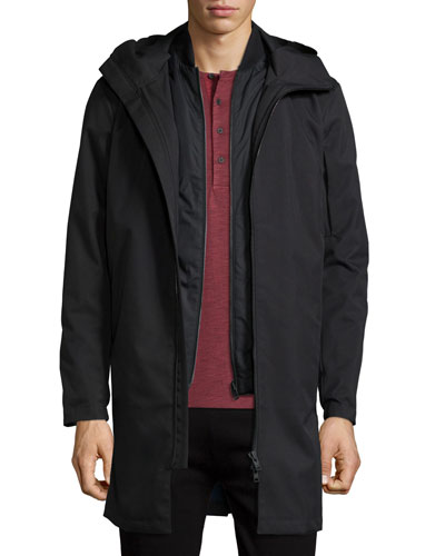 Hallsey All-Weather Long Coat, Black