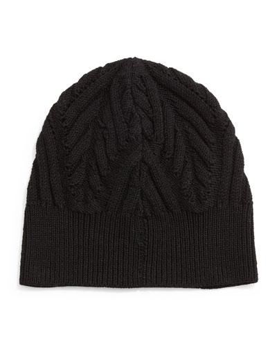 Textured Knit Beanie Cap, Black