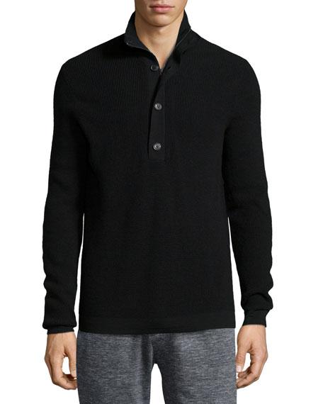 Theory Villen Mock-Neck Sweater, Black
