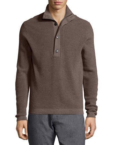 Villen Mock-Neck Sweater, Brown