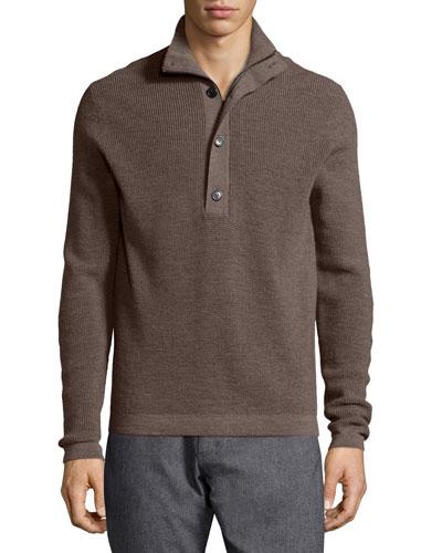 Villen Mock-Neck Sweater, Brown