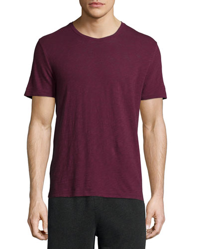 Short-Sleeve Crewneck Slub Tee, Burgundy