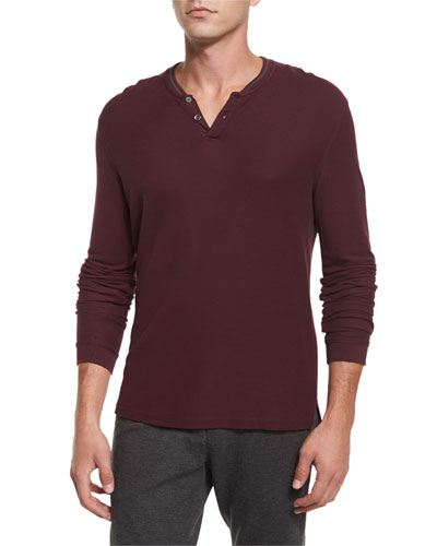 Long-Sleeve Pique Henley Shirt, Burgundy