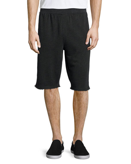 ATM Raw-Edge Knit Sweat Shorts, Charcoal