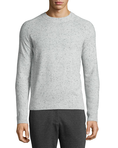 Donegal Cashmere Crewneck Sweater, Dark Gray