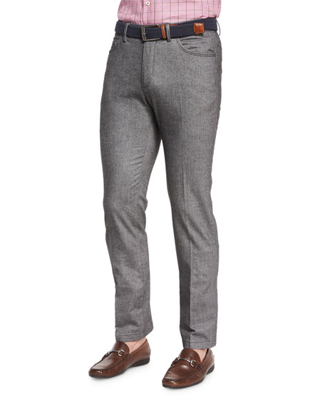 Peter Millar Melange Knit Hybrid Pants, Charcoal