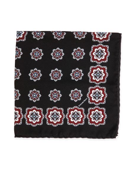 Stefano Ricci Medallion-Print Handkerchief, Black