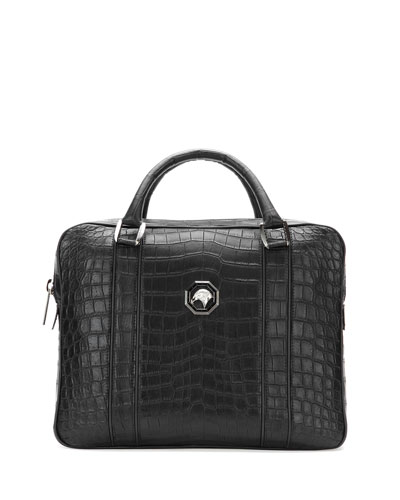 Crocodile Leather Large Briefcase, Black