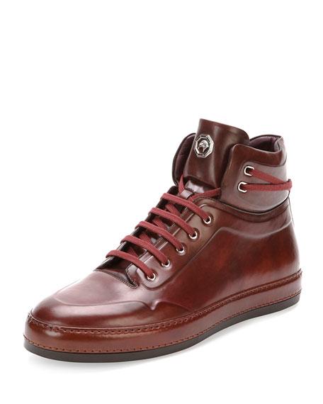 Stefano Ricci Leather High-Top Sneaker, Burgundy
