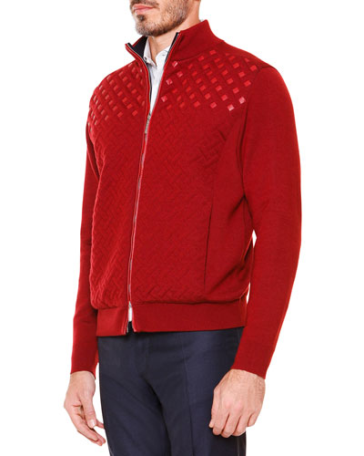 Textured Crisscross Full-Zip Sweater, Red