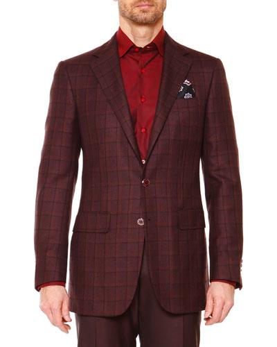 Plaid Two-Button Jacket, Aubergine