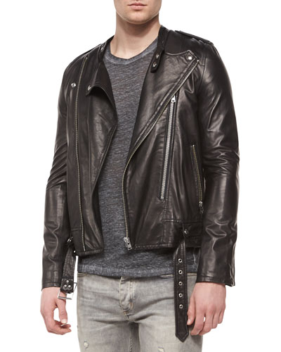 Hydo Leather Moto Jacket, Black