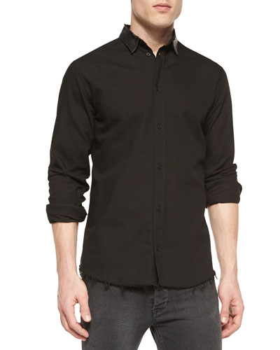 Long-Sleeve Shirt with Leather Collar, Black