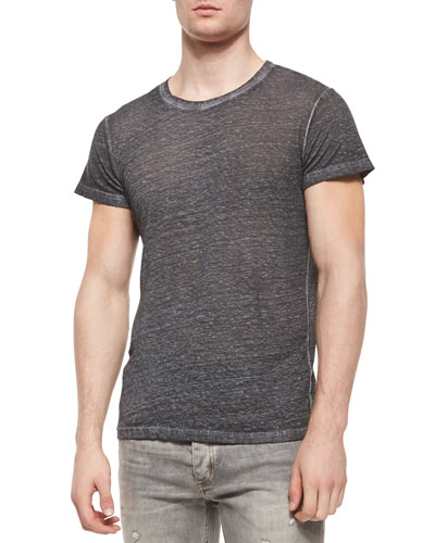 Overdyed Short-Sleeve Linen Tee, Dark Gray