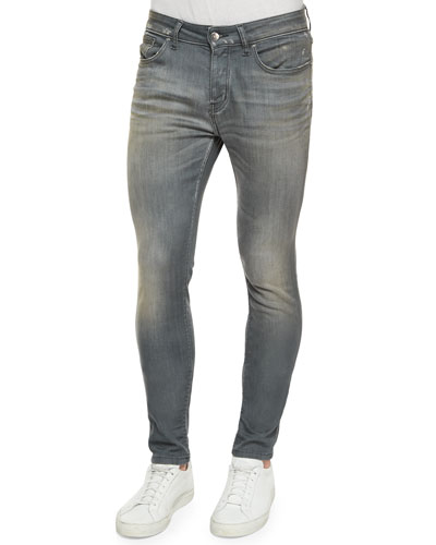 Washed Skinny-Leg Denim Jeans, Gray