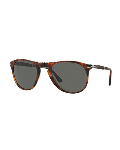 714-Series Foldable Acetate Sunglasses, Dark Havana