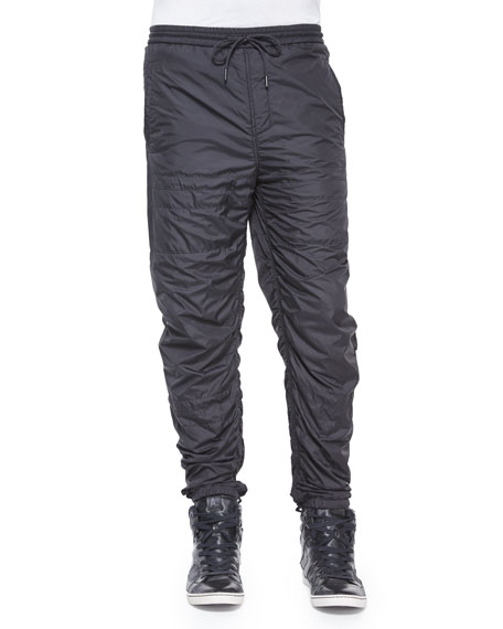 Alexander Wang Nylon Quilted Track Pants, Black