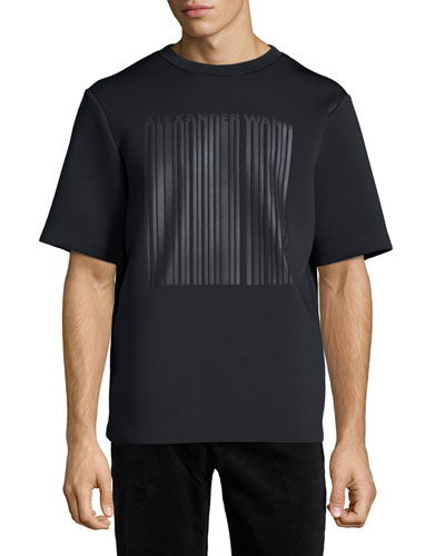 Neoprene Barcode Logo Short-Sleeve T-Shirt, Black
