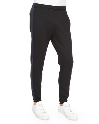 Side-Stripe Cotton Sweatpants, Black/Navy