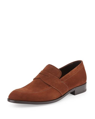 Suede Penny Loafer, Brown