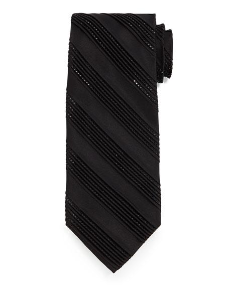 Stefano Ricci Diagonal-Pleat & Crystal Silk Tie, Black