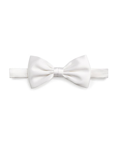 Solid Satin Bow Tie, White