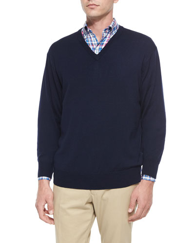 Peter Millar Merino Wool V-Neck Sweater, Navy