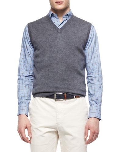 Merino Wool V-Neck Vest, Charcoal