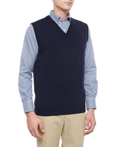 Merino Wool V-Neck Vest, Navy